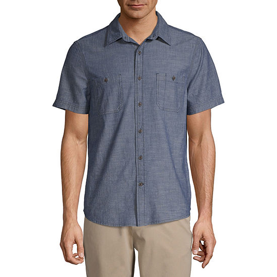 44b37001c9d5b St. John's Bay No Tuck Mens Short Sleeve Button-Front Shirt