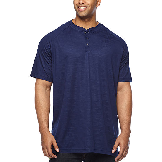 The Foundry Big & Tall Supply Co.-Big and Tall Mens Short Sleeve Moisture Wicking Stretch Henley Shirt