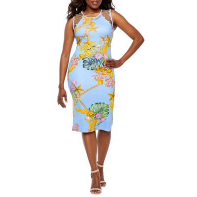 Bold Elements Sleeveless Leaf Midi Bodycon Dress