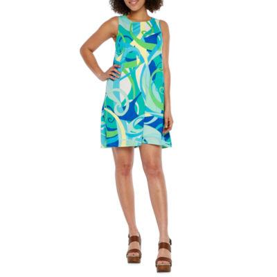 London Style Sleeveless Abstract Shift Dress