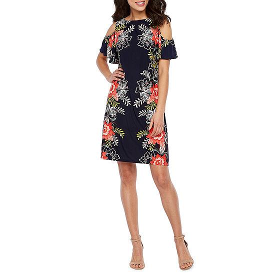 MSK Short Sleeve Cold Shoulder Floral Puff Print A-Line Dress