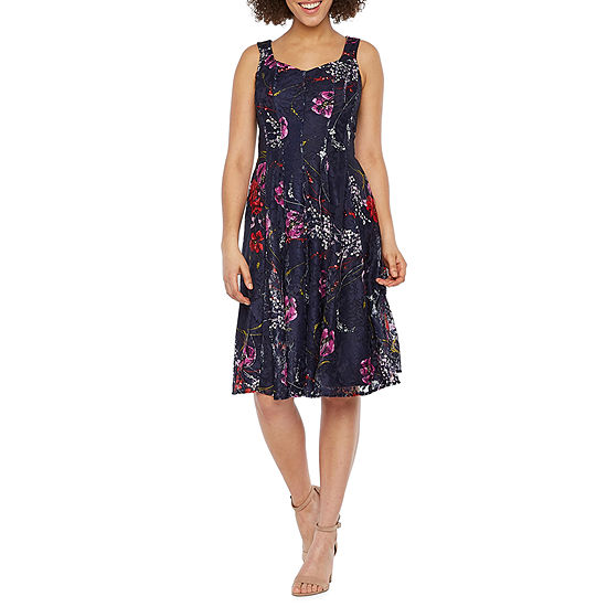 Danny Amp Nicole Sleeveless Floral Lace Fit Amp Flare Dress
