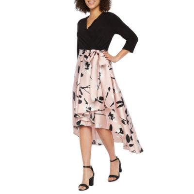 R & M Richards 3/4 Sleeve Floral High Low Dress