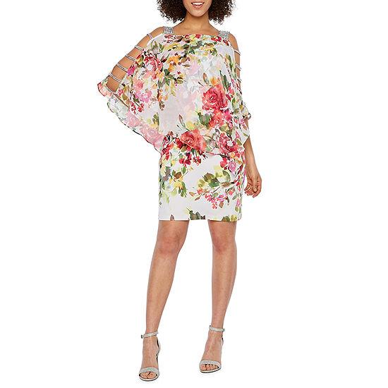MSK 3/4 Sleeve Embellished Floral Cape Sheath Dress