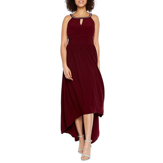 Scarlett Sleeveless Beaded Neck High Low Evening Gown