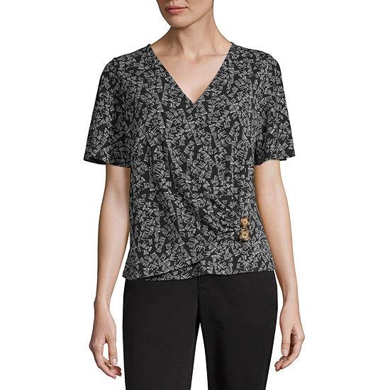 Worthington Womens V Neck Short Sleeve Knit Blouse