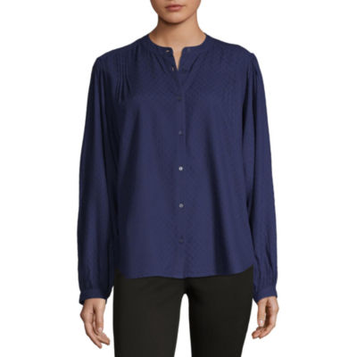 a.n.a Womens Crew Neck Long Sleeve Peasant Top
