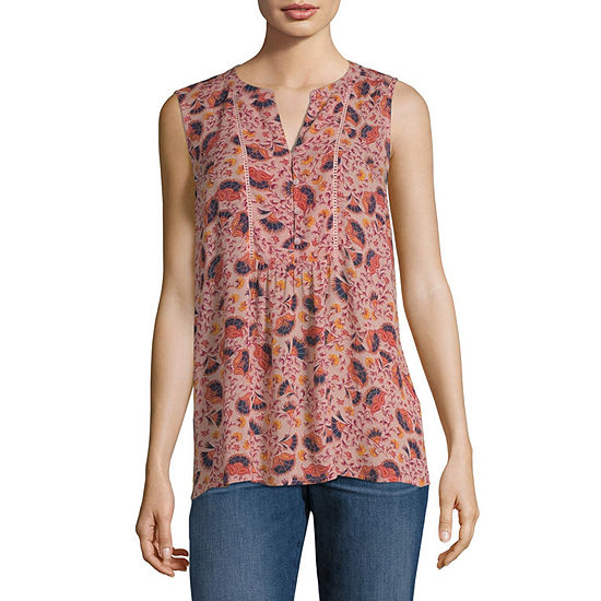 Liz Claiborne Womens Split Crew Neck Sleeveless T Shirt Petite