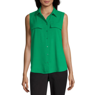 Worthington Womens Sleeveless Blouse