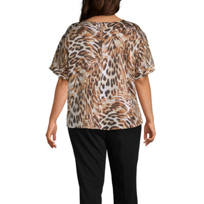 Worthington Womens Round Neck Short Sleeve Blouse-Plus