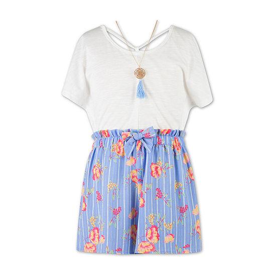 Speechless Girls Short Sleeve Romper Preschool / Big Kid