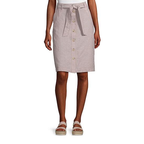 Liz Claiborne Womens Mid Rise Short A-Line Skirt