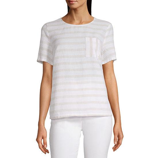 Liz Claiborne Short Sleeve Linen Top - Tall