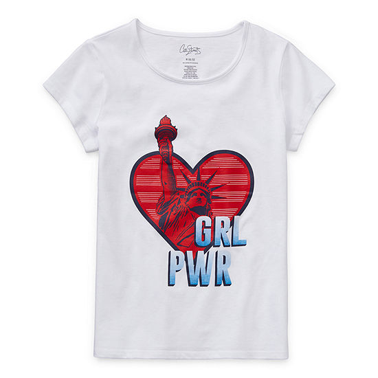 City Streets Little & Big Girls Scoop Neck Short Sleeve Graphic T-Shirt