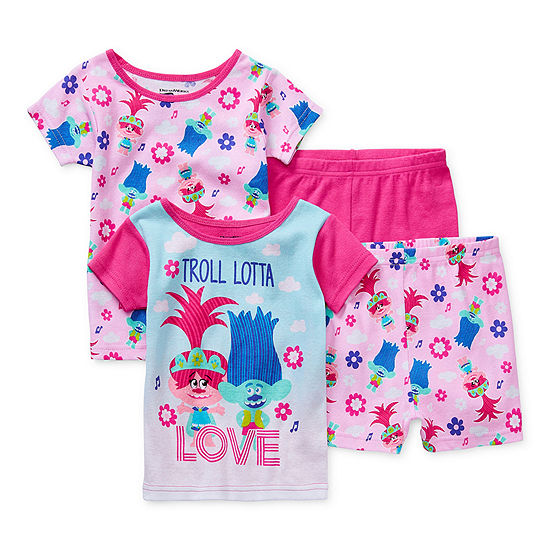 Toddler Girls 4-pc. Trolls Shorts Pajama Set
