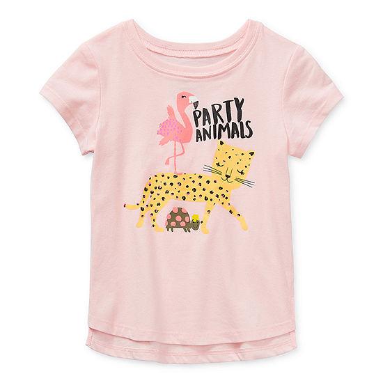 Okie Dokie Toddler Girls Round Neck Short Sleeve T-Shirt