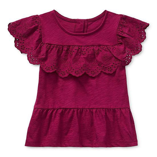 Okie Dokie Toddler Girls Short Sleeve T-Shirt