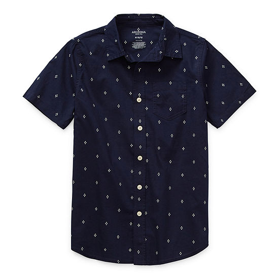 Arizona Little & Big Boys Short Sleeve Button-Down Shirt