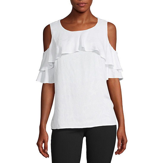 Liz Claiborne-Petite Womens Round Neck Short Sleeve Blouse