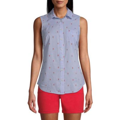St. John's Bay Womens Sleeveless Regular Fit Button-Front Shirt