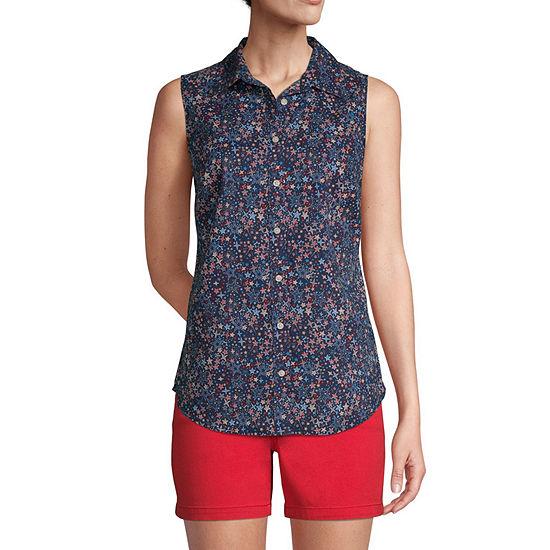 St. John's Bay Womens Sleeveless Regular Fit Button-Down Shirt