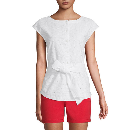 St. John's Bay Womens Crew Neck Sleeveless Blouse