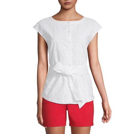 St. John's Bay Womens Crew Neck Sleeveless Blouse, Xx-large , White