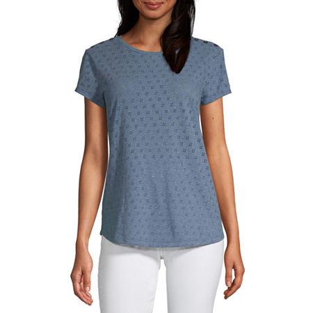 Liz Claiborne-Womens Round Neck Short Sleeve T-Shirt, Medium , Blue