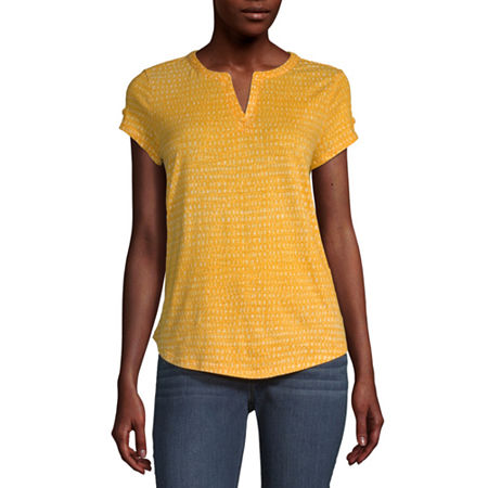 Liz Claiborne-Womens Split Crew Neck Short Sleeve T-Shirt, X-small , Yellow
