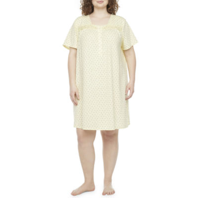 Adonna Womens Plus Nightgown Short Sleeve Square Neck