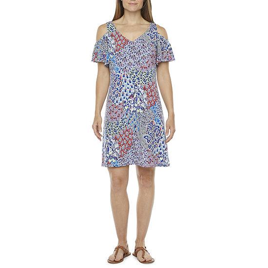 MSK Short Sleeve Cold-Shoulder Print Shift Dress