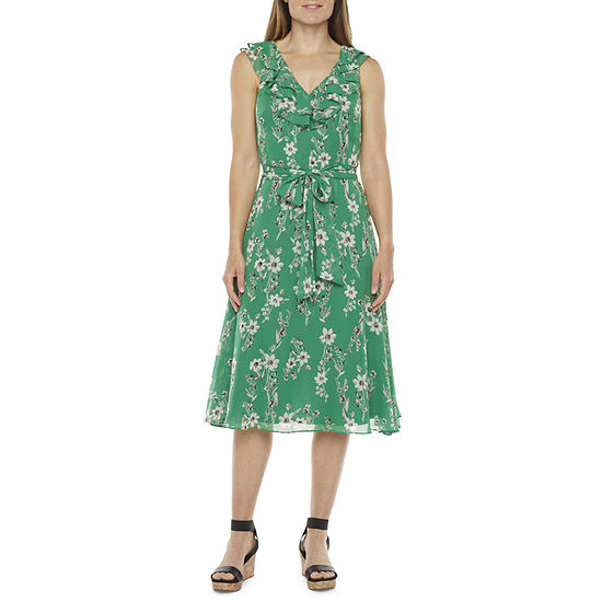 Jessica Howard Sleeveless Floral Midi Fit & Flare Dress