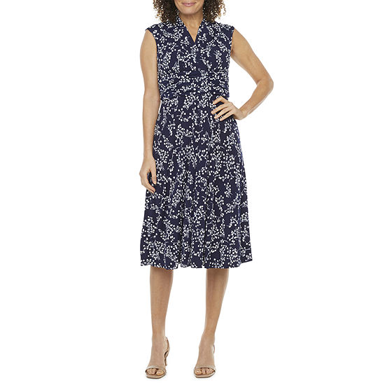 Jessica Howard Short Sleeve Floral Fit & Flare Dress