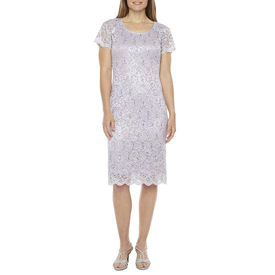 Ronni Nicole Short Sleeve Sequin Lace Midi Shift Dress