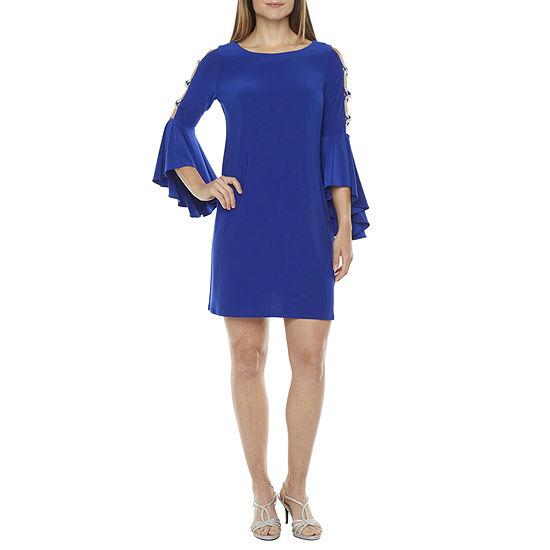 MSK 3/4 Embellished Bell Sleeve Sheath Dress