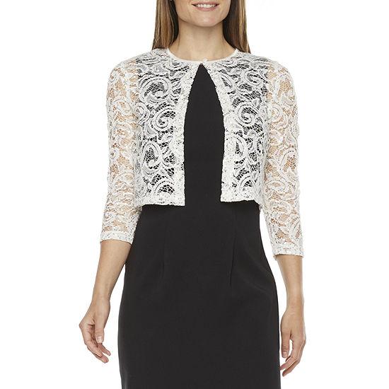 Ronni Nicole Womens 3/4 Sleeve Sequin Lace Shrug