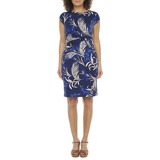 Liz Claiborne Short Sleeve Floral A-Line Dress
