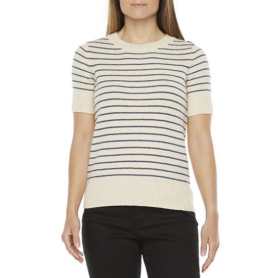 Liz Claiborne Womens Crew Neck Short Sleeve Striped Pullover Sweater
