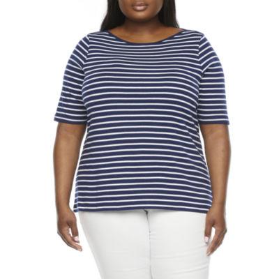 St. John's Bay Plus Womens Boat Neck Short Sleeve T-Shirt