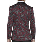 JF J.Ferrar Burgundy Birdseye Mens Stretch Classic Fit Tuxedo Jacket - Big and Tall