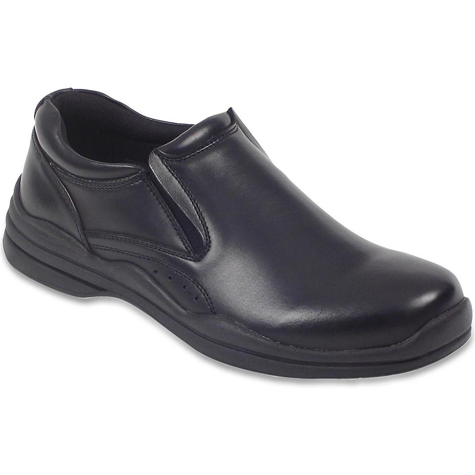 Deer Stags Goal Mens Leather Slip On Shoes, Black