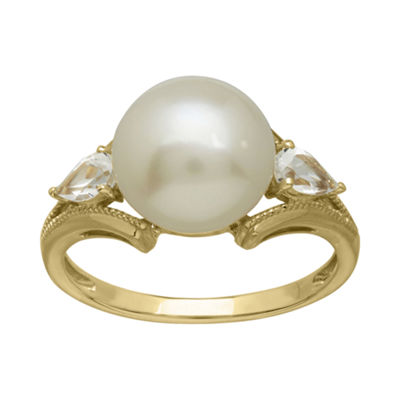 Certified Sofia™ 10MM Cultured Freshwater Pearl 10K Gold Ring