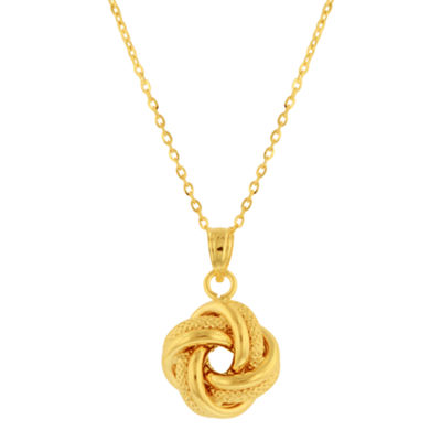 10K Gold Love Knot Pendant Necklace