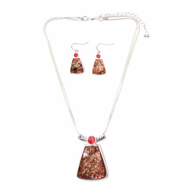Mixit™ Pink Stone Silver-Tone Rectangle Necklace and Earrings Set