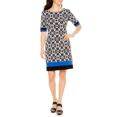 R & K Originals Elbow Sleeve Geometric Sheath Dress