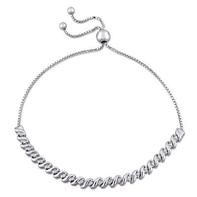 Womens White Diamond Sterling Silver Bolo Bracelet