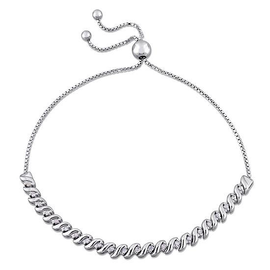 Genuine White Diamond Sterling Silver Bolo Bracelet