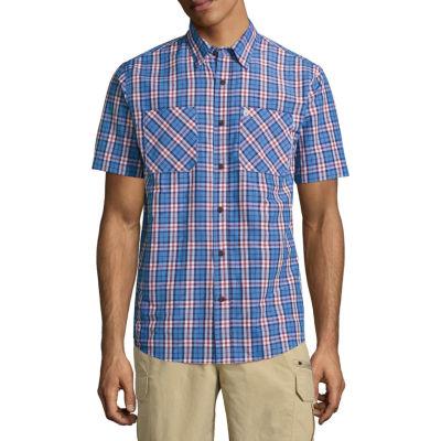 Coleman Mens Short Sleeve Moisture Wicking Plaid Button-Front Shirt