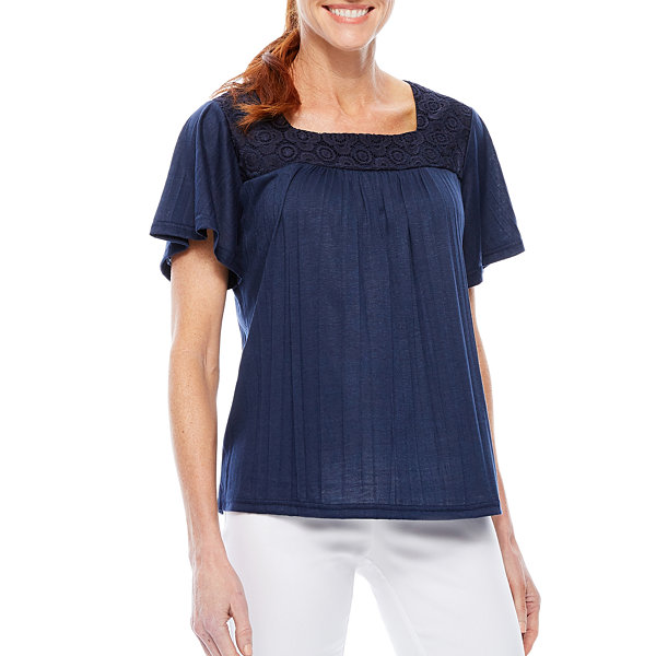Sag Harbor Denim And Chambray Short Sleeve Square Neck T-Shirt-Womens