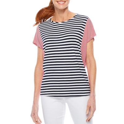 Sag Harbor Stars And Stripes Short Sleeve Crew Neck T-Shirt-Womens